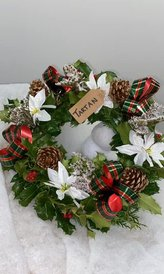 Tartan ribbon wreath £16